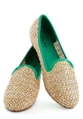 Wheatberry Wonderful Flat - Tan, Green, Trim, Woven, Flat, Solid, Casual, Beach/Resort, Summer