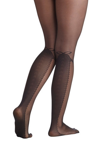 Lacing Your Dreams Tights by Look From London - Black, Novelty Print, Statement, Party, Film Noir, Vintage Inspired, Sheer