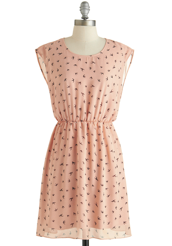 Girl Next Soar Dress - Sheer, Pink, Brown, Print with Animals, Casual, A-line, Sleeveless, Scoop, Exclusives, Summer
