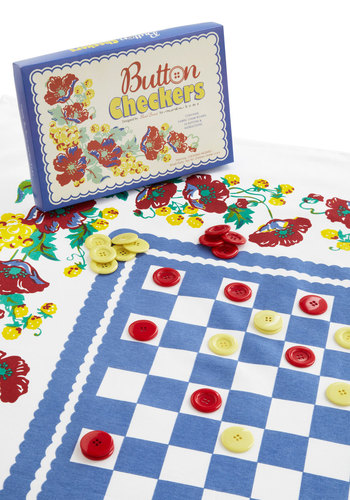 Bright as a Button Tablecloth Checkers Set - Multi, Red, Yellow, Blue, White, Vintage Inspired, Mid-Century, Better