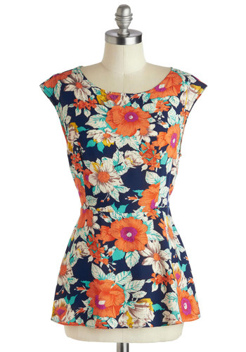 Garden Meeting Top by Pink Martini - Green, Blue, Tan / Cream, White, Floral, Mid-length, Multi, Orange, Work, Casual, Cap Sleeves, Summer, Scoop