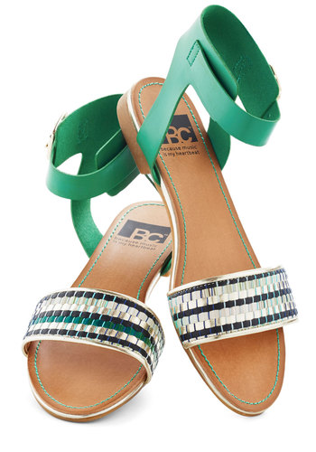 Inspired By the Sea Sandal by BC Footwear - Green, Print, Flat, Silver, Beach/Resort, Summer, Faux Leather