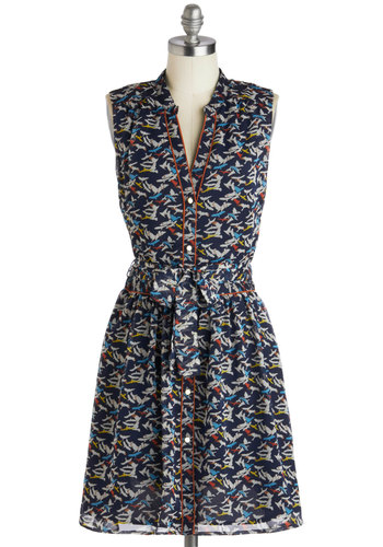 Better Than the Nest Dress by Pink Martini - Mid-length, Blue, Multi, Print with Animals, Buttons, Belted, Casual, A-line, Sleeveless, Shirt Dress, Spring, Summer, Collared, Gifts Sale
