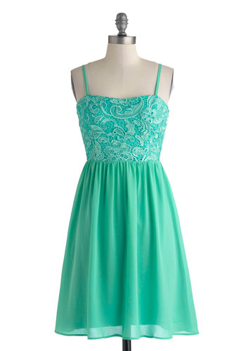 Darling Daydream Dress - Mid-length, Green, Solid, Lace, Party, A-line, Spaghetti Straps, Sweetheart, Fairytale, Summer