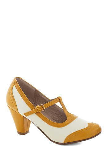 Gallery Opener Heel in Marigold by Chelsea Crew - Solid, Cutout, Vintage Inspired, 20s, 30s, Mid, Yellow, White, Party, Work, Faux Leather, T-Strap, Better, Top Rated