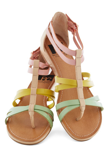 Cutie Crossing Sandal in Pastels by BC Shoes - Multi, Solid, Buckles, Pastel, Strappy, Low, Tan / Cream, Casual, Cocktail, Beach/Resort, Summer, Faux Leather, Variation