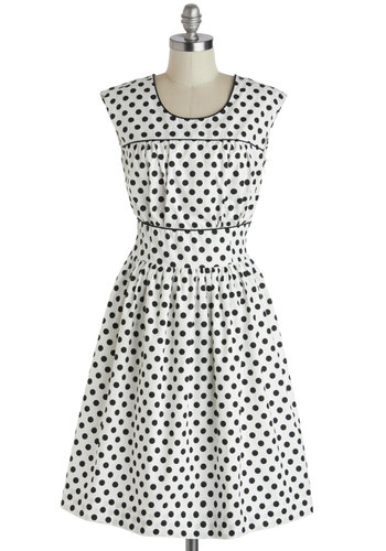 No Dot about It Dress - Polka Dots, Black, Buttons, Trim, Casual, A-line, Sleeveless, Scoop, Long, Cotton, Woven, White, Sundress