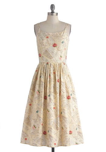 Above Par Avion Dress by Myrtlewood - Cotton, Long, Cream, Multi, Novelty Print, Pockets, Casual, A-line, Spaghetti Straps, Scoop, Daytime Party, Vintage Inspired, Spring, Summer, Exclusives