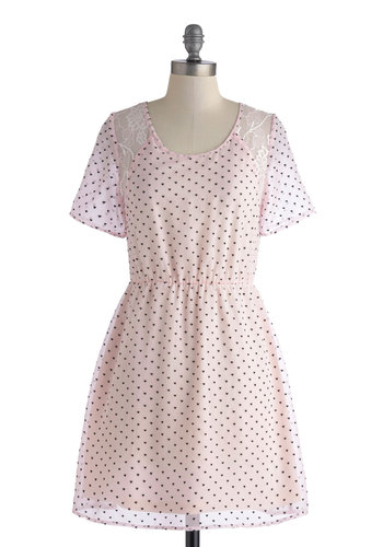 Never Miss a Beat Dress - Pink, Black, Print, Lace, Casual, A-line, Short Sleeves, Scoop, Pastel, Sheer, Short