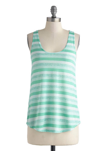 Week by Weekend Top in Mint - Mid-length, Mint, White, Stripes, Casual, Tank top (2 thick straps), Racerback, Scoop, Summer