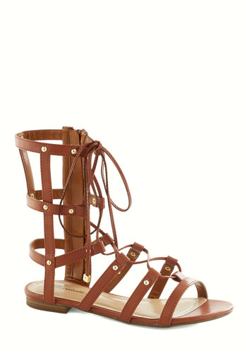 So Cute and Ladders Sandal - Tan, Studs, Statement, Summer, Flat, Lace Up, Cutout, Casual, Faux Leather, Strappy
