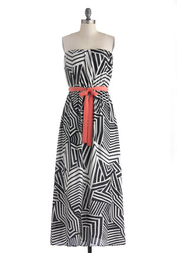 Dynamic Destination Dress - Long, Black, White, Print, Belted, Casual, Maxi, Strapless, Coral, Beach/Resort, Summer