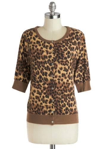 Growls Night In Cardigan - Brown, Black, Animal Print, Buttons, Daytime Party, Short, Casual, Rockabilly, Pinup, Vintage Inspired, Short Sleeves, Brown, Short Sleeve