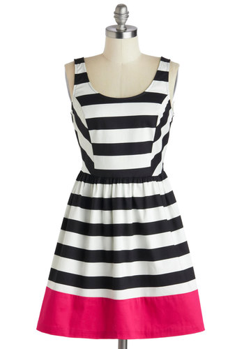 Rock the Line Dress - Short, Pink, Black, White, Stripes, Party, A-line, Tank top (2 thick straps), Scoop, Colorblocking, Cotton