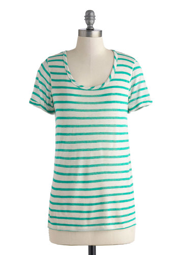 Day-Greeting Ditty Top - Mid-length, Mint, Tan / Cream, Stripes, Casual, Short Sleeves, Scoop, Travel, Green, Short Sleeve, Beach/Resort