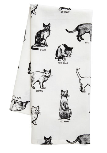 Etiquette Got Your Tongue Tea Towel - Cotton, White, Print with Animals, Black, Cats, Critters, Top Rated