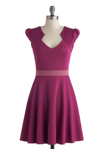 Vivacious and Vibrant Dress in Magenta - Mid-length, Purple, Solid, A-line, Cap Sleeves, Party, V Neck