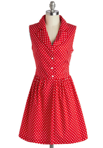 Taking on Tulsa Dress in Dotty - Red, White, Polka Dots, Buttons, Casual, Shirt Dress, Sleeveless, Collared, Cotton, Vintage Inspired, 40s, 50s, 60s, Woven, Short