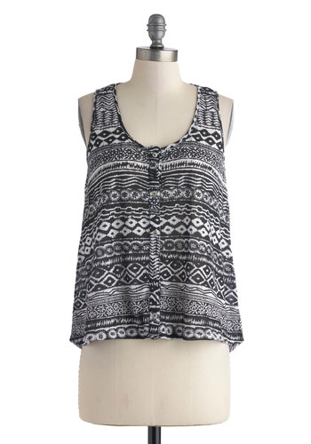 Park Concert Top - Mid-length, Black, White, Print, Buttons, Casual, Beach/Resort, Travel, Tank top (2 thick straps), Summer, Scoop