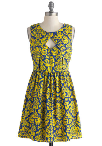 Fanfare and Square Dress - Yellow, Blue, Print, Cutout, Party, A-line, Sleeveless, Scoop, Woven, Short