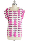 Make and Expression Top - Mid-length, Pink, Novelty Print, Casual, Neon, Quirky, Short Sleeves, White, Scoop