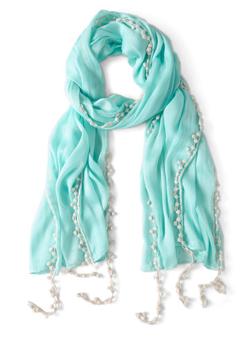 Mint to Be Scarf - Green, White, Solid, Fringed, Casual, Summer, Spring, Pastel