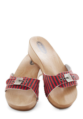Dr. Scholl's Maritime to Shine Sandal in Stripes by Dr. Scholl's - Stripes, Buckles, Vintage Inspired, 80s, Low, Leather, Suede, Red, Blue, Casual, Nautical, Summer
