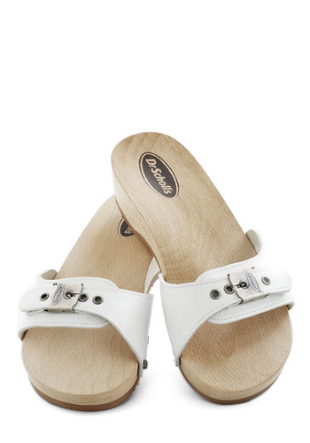 Dr. Scholl's Maritime to Shine Sandal in White by Dr. Scholl's - White, Solid, Buckles, Vintage Inspired, 80s, Low, Leather, Casual, Nautical