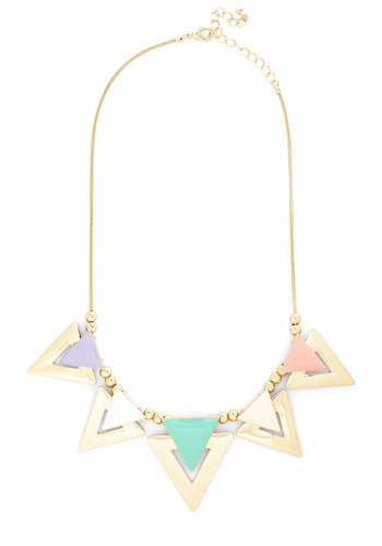 Sweet as Sugar Cone Necklace - Multi, Gold, Solid, Cutout, Pastel, Summer