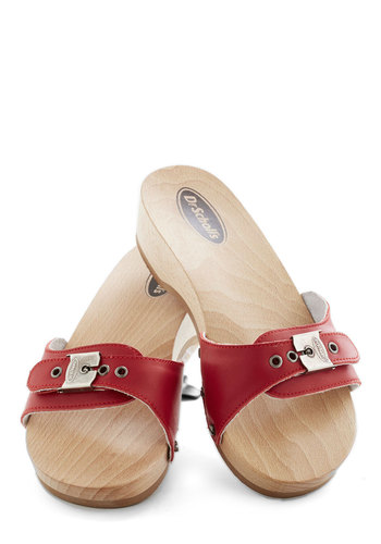 Dr. Scholl's Maritime to Shine Sandal in Red by Dr. Scholl's - Low, Leather, Red, Casual, Summer, Nautical