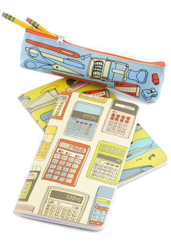 Everything in Order Notebook & Pencil Case Set by Chronicle Books - Multi, Novelty Print, Vintage Inspired, Scholastic/Collegiate
