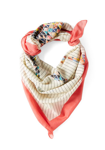 Harmonious Mosaic Scarf by Louche - Cream, Multi, Print with Animals, Cotton, Coral, Print, Woven