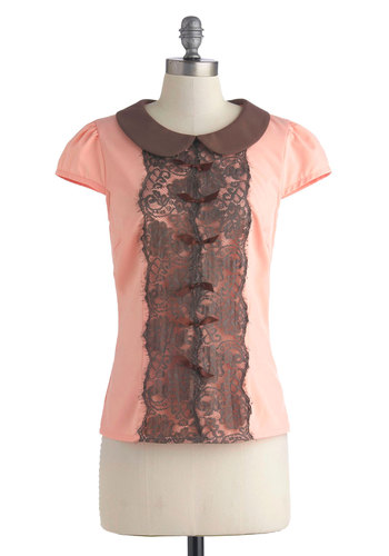 Chocolate-Covered Strawberry Top - Pink, Lace, Peter Pan Collar, Cap Sleeves, Collared, Mid-length, Brown, Bows, Daytime Party, Vintage Inspired, Spring, Summer