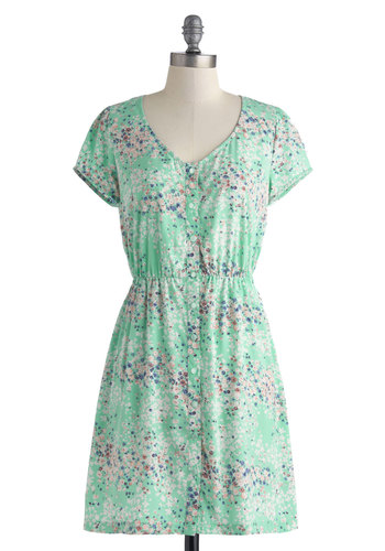 In With the Mint Dress - Mid-length, Mint, Floral, Buttons, Casual, A-line, Short Sleeves, V Neck, Multi
