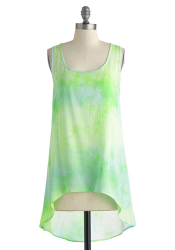 Tone of Fun Top - White, Tie Dye, Casual, Tank top (2 thick straps), Mid-length, Green, Blue, Cutout, Beach/Resort, Summer, Scoop