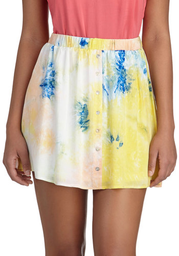 On the Geode Again Skirt - Multi, Yellow, Blue, Tie Dye, Casual, Short, Buttons, Boho, Pastel, Summer