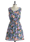 Always On Needlepoint Dress - Mid-length, Blue, Multi, Floral, Cutout, Casual, A-line, Tank top (2 thick straps), Scoop