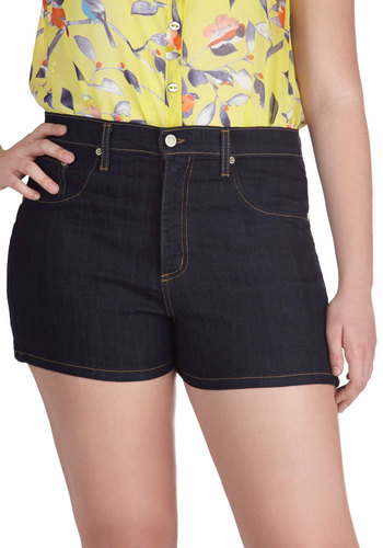Tandem Tour Shorts in Dark Wash - Plus Size - Blue, Solid, Pockets, Casual, Denim, Summer
