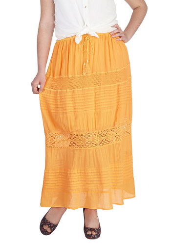 Fresh-Squeezed Citrus Skirt in Plus Size - Cotton, Orange, Solid, Belted, Casual, Beach/Resort, Boho, Vintage Inspired, 70s, Maxi, Summer, Exclusives