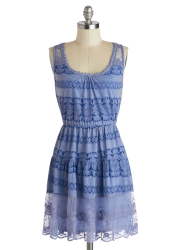 Classy by Itself Dress - Mid-length, Blue, Silver, Lace, Casual, A-line, Tank top (2 thick straps), Scoop, Print, Daytime Party, Summer, Sheer