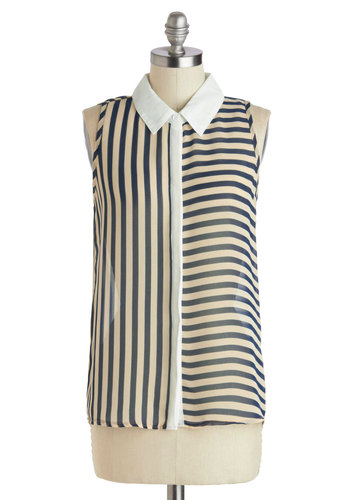 Fashion Sense of Direction Top in Navy - Blue, White, Stripes, Button Down, Sleeveless, Summer, Sheer, Variation, Collared, Chiffon, Mid-length, Gifts Sale
