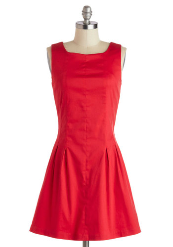 Mover and Shaker Dress - Cotton, Red, Solid, Party, A-line, Sleeveless, Pleats, Work, Minimal