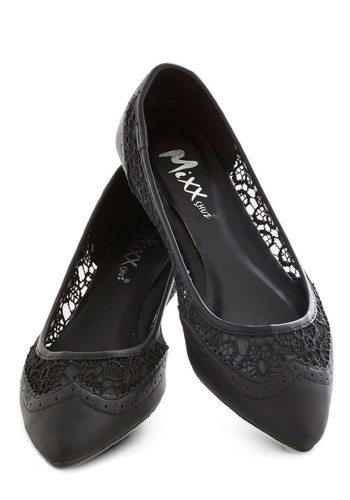 My Fair Lacy Flat in Black - Black, Solid, Lace, Flat, Party, Work, Daytime Party, Faux Leather, Variation, Lace