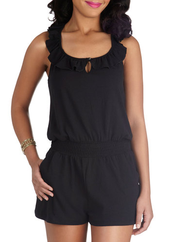 Little Black Romper - Long, Black, Solid, Pockets, Ruffles, Casual, Beach/Resort, Tank top (2 thick straps), Summer, Cotton, Scoop, Jumper, Good, Best Seller, Black