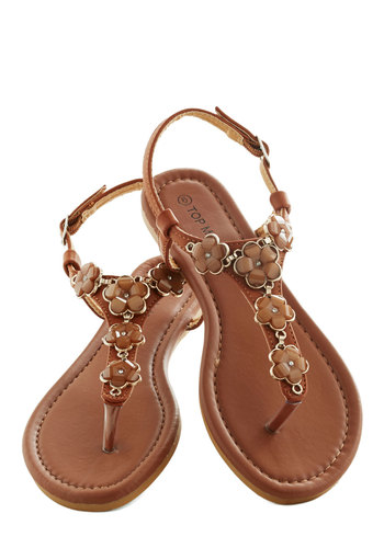 Woods and Wildflowers Sandal in Brown - Tan, Flower, Daytime Party, Fairytale, Summer, Flat, Solid, Rhinestones, Casual, Beach/Resort, Boho, Variation