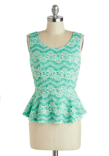 Styled in Seafoam Top - Lace, Work, Peplum, Sleeveless, Short, Mint, Tan / Cream, Daytime Party, Pastel, Spring, Summer, Scoop
