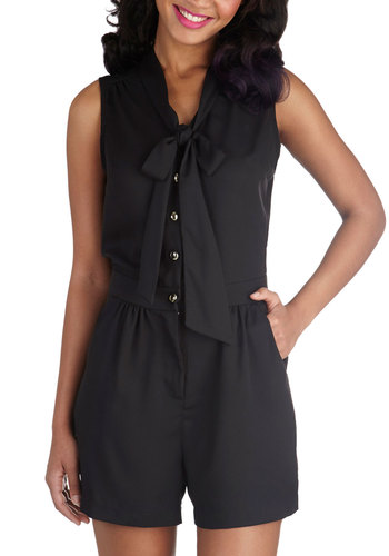 Rise and Pine Romper in Coal Black - Long, Black, Solid, Buttons, Pockets, Tie Neck, Daytime Party, Sleeveless, Summer, Variation, Exclusives