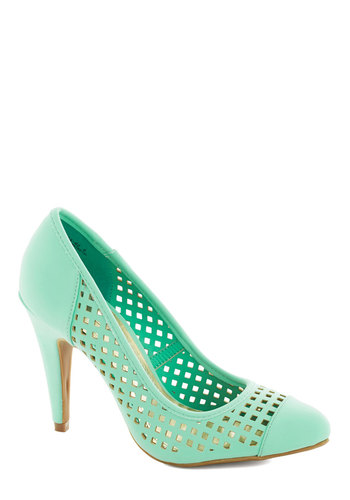 I Screen, You Screen Heel - Mint, Solid, Cutout, Wedding, Daytime Party, Graduation, Bridesmaid, High, Party, Spring, Summer, Faux Leather