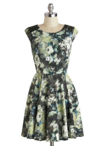 Fine Arrangements Dress - Mid-length, Green, Multi, Floral, Cutout, Lace, Party, A-line, Sleeveless, Scoop