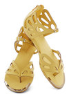 Butterfly Bush Sandal - Yellow, Solid, Cutout, Low, Wedge, Faux Leather, Daytime Party, Beach/Resort, Pastel, Summer